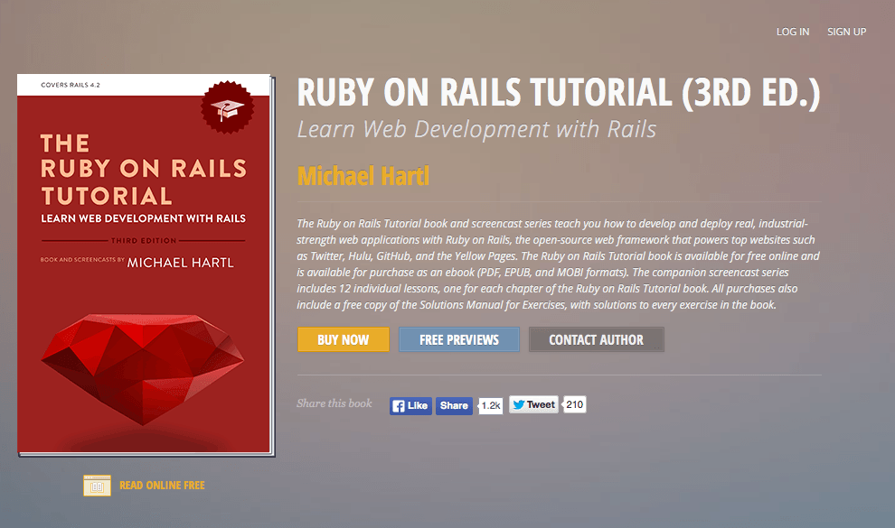 ruby on rails tutorial homepage