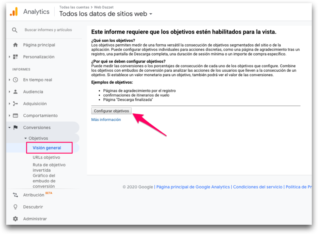 Vision general objetivos google analytics