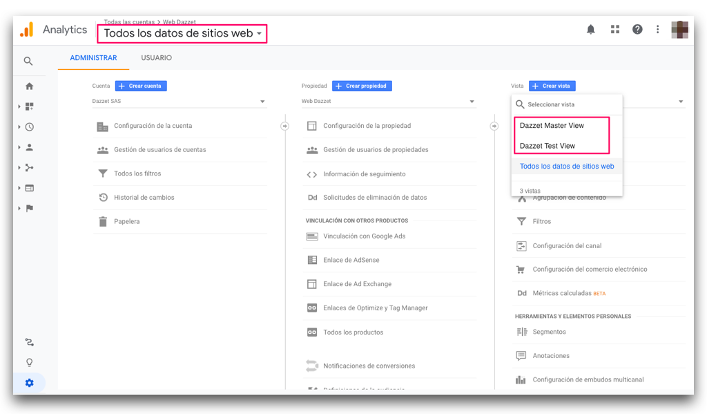 elegir una vista en google analytics